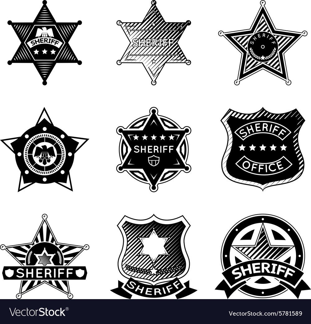 Set of sheriff or marshal badges and stars vector