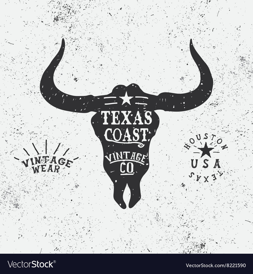 Vintage label with bull head vector