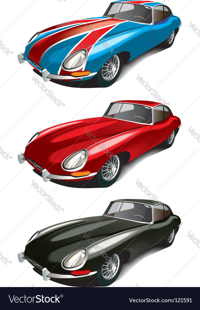 Retro english sport car set vector