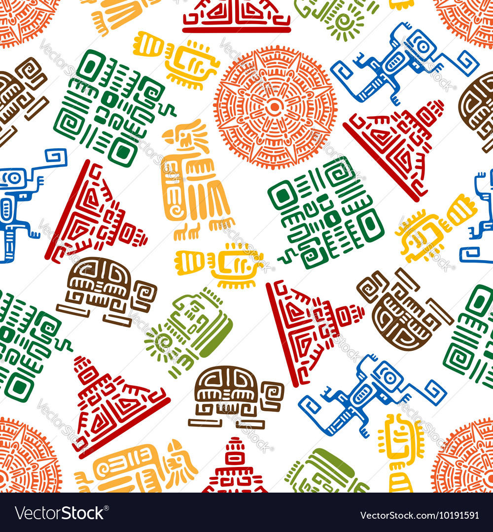 Seamless pattern of mayan and aztec ornament vector