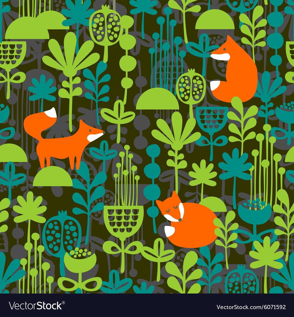 Fox in night forest seamless pattern vector