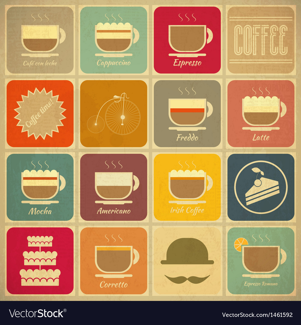 Set of retro coffee labels vector
