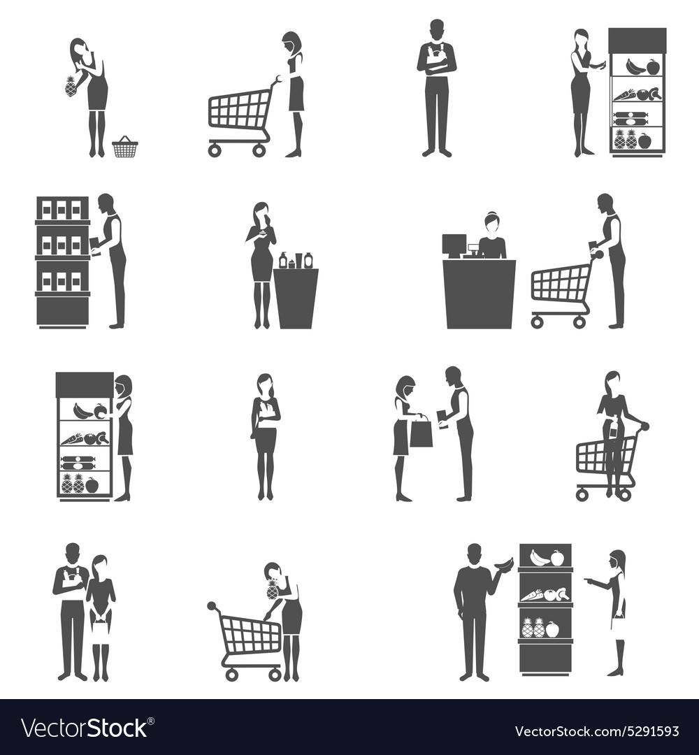 Buyer icons set vector