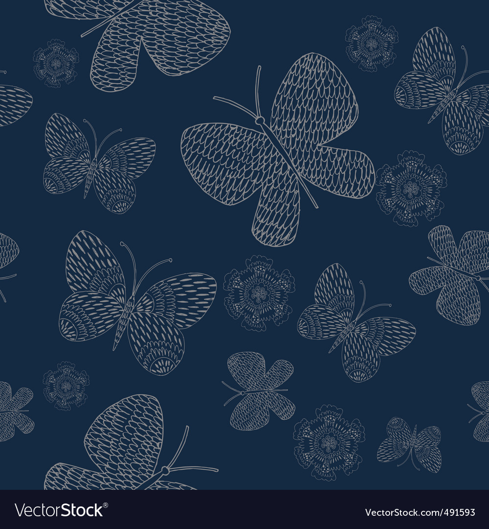 Flowers butterflies pattern vector