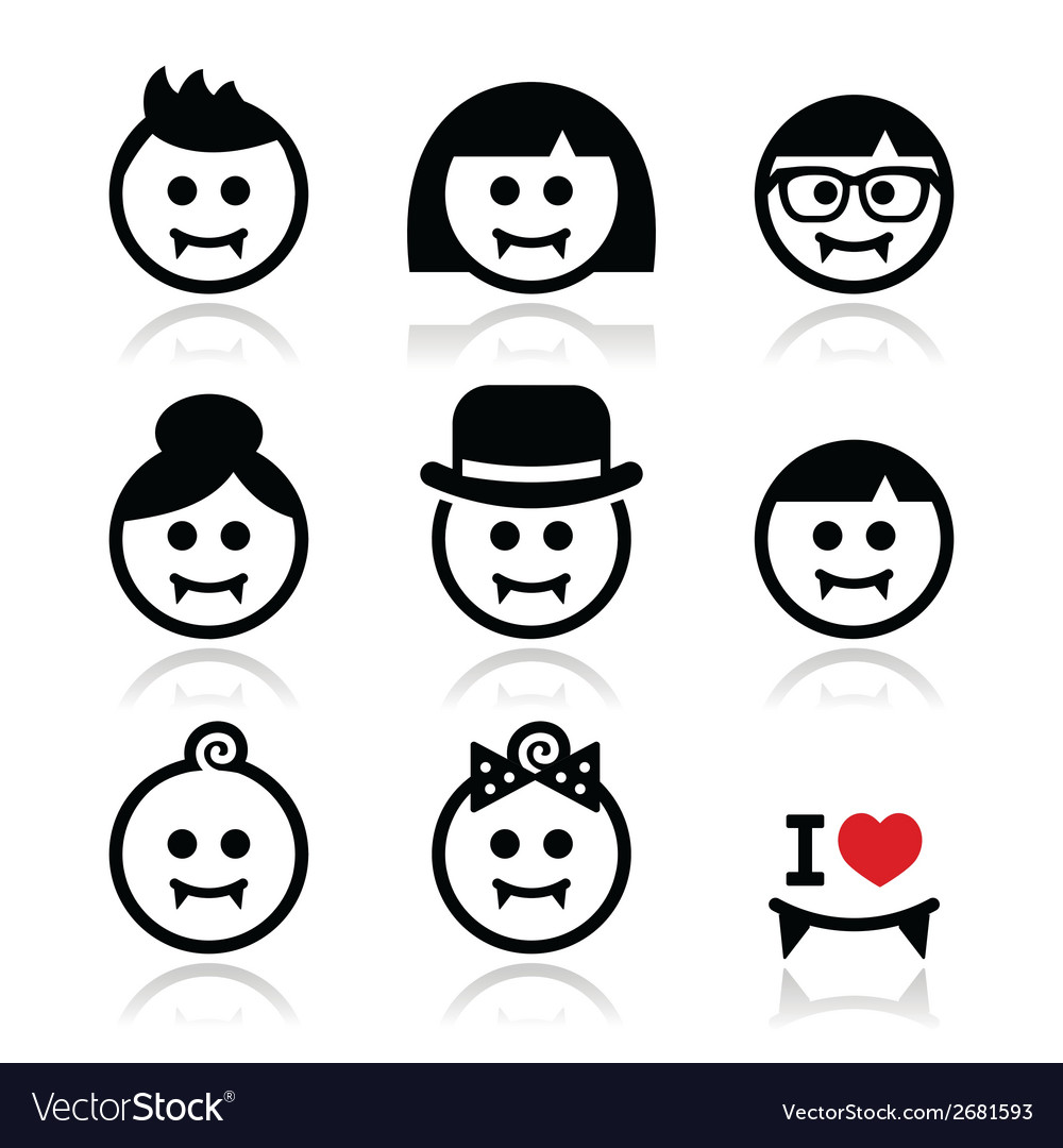 Vampires  man woman baby faces halloween icons vector