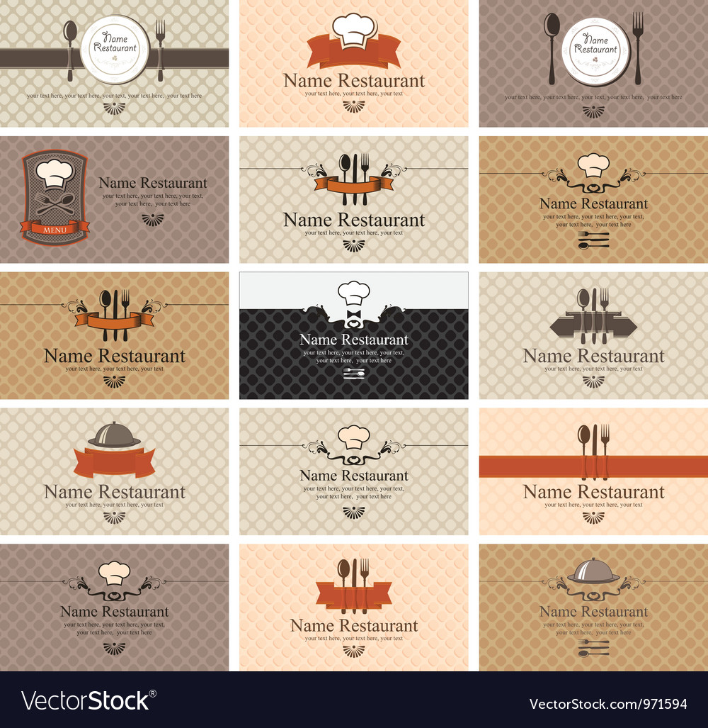 Cards on food vector