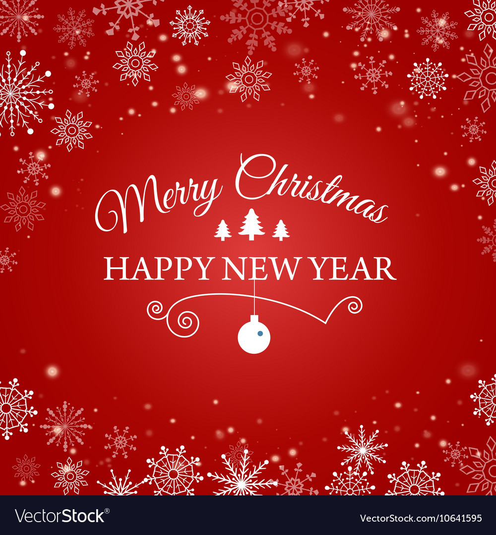 Ecard for happy new year and merry christmas vector