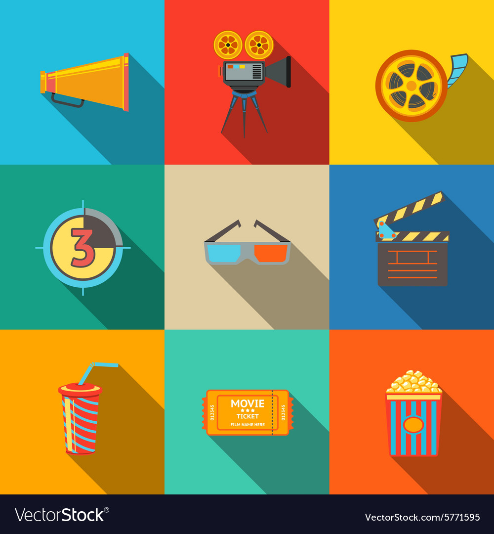 Flat modern cinema movie icons set  projector vector
