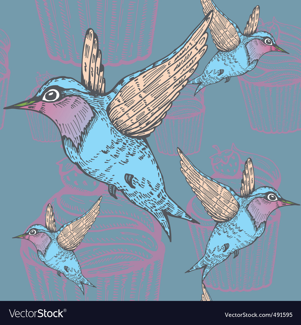 Hummingbirds pattern vector