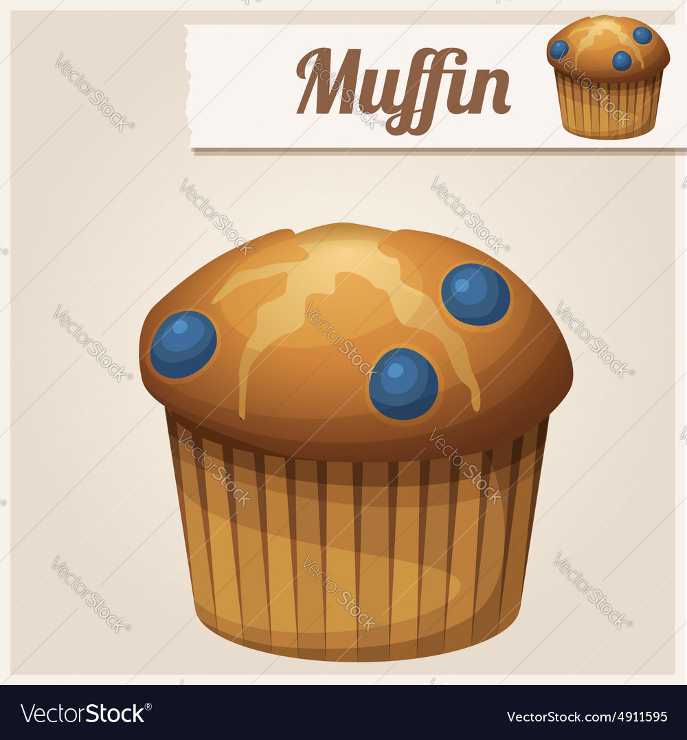 Muffin with blueberry detailed icon vector