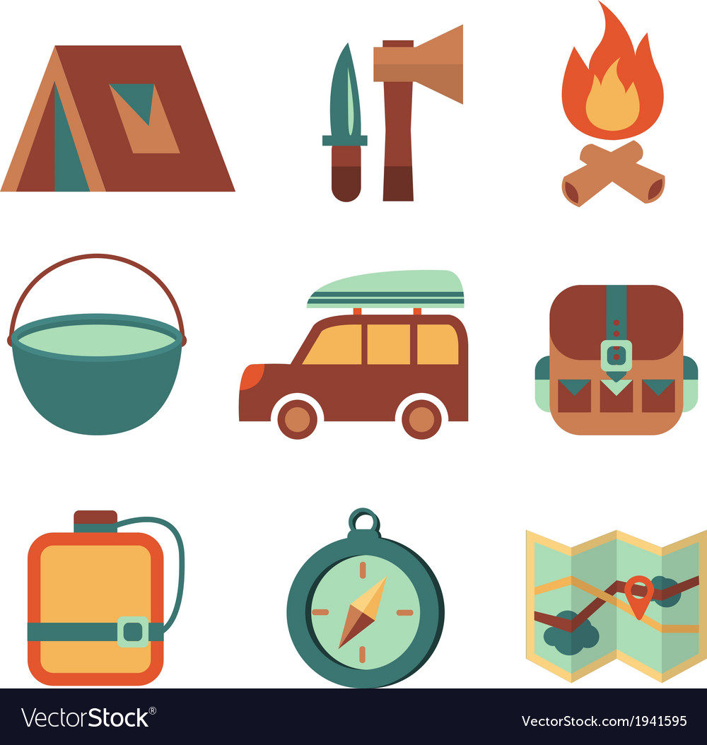 Outdoors tourism camping flat icons set vector
