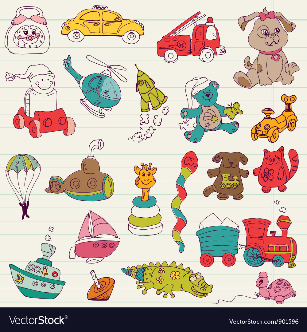 Baby toys doodles vector
