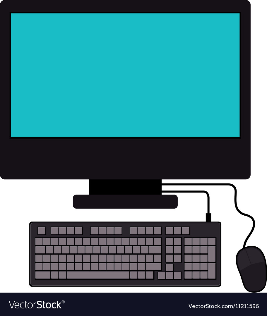 Tech computer screen keyboard mice vector