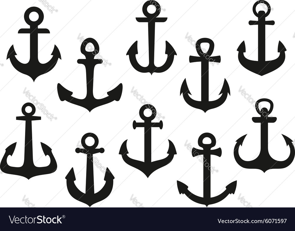 Heraldic black nautical anchor icons set vector