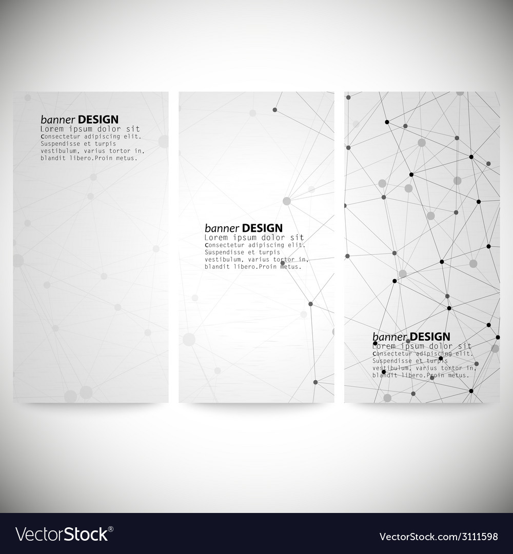 Set of vertical banners molecule structure gray vector