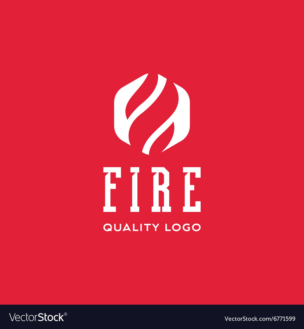 Logo sign flame fire quality flat style icon vector