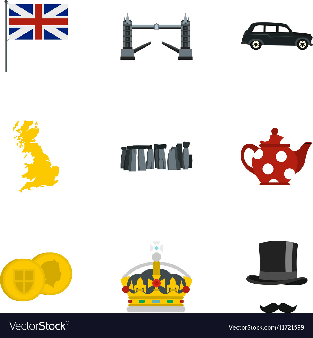 Tourism in united kingdom icons set flat style vector