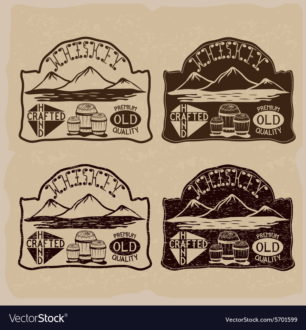 Whiskey vintage labels set vector