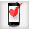 Abstract mobile phone with hearts vector image