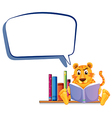 A tiger reading with an empty callout vector image vector image