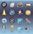 auto racing icons set vector image