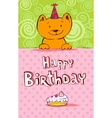 Birthday greeting card with red cat vector image