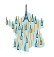 Map of France with Eiffel Tower in Paris National vector image