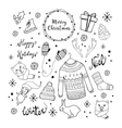 Christmas background with doodle icons vector image