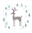 Deer in winter pine forest isolated on white vector image