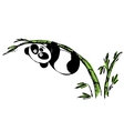 Little cute panda hanging on bamboo vector image