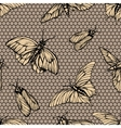 seamless pattern with butterflies on net vector image