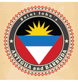 Vintage label cards of Antigua and Barbuda flag vector image