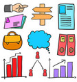 doodle of business element style set vector image