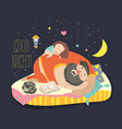 little girl daughter and her dad sleeping vector image