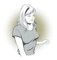 People in retro style Girl gesture mentor teacher vector image
