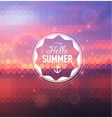 Summer geometry postcard with sunset back and text vector image