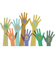 Collection of hands with icons vector image