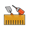 construction box with drill spatula tools vector image