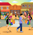 downtown shopping vector image