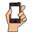 hand human with smartphone device isolated icon vector image