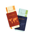 passport with airline boarding pass ticket vector image