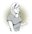 People in retro style Girl gesture mentor teacher vector image