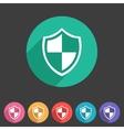 Shield icon flat web sign symbol logo label set vector image