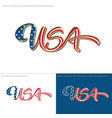 USA flag caligraphic text vector image vector image