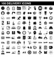 100 delivery icons set simple style vector image vector image