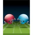 American Football Field and Helmets vector image