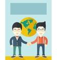 Two chinese guys happily handshaking vector image
