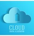 Cloud upload information on server vector image