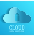 Cloud upload information on server vector image