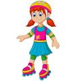 funny girl cartoon plying roller skates vector image